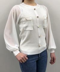 袖シフォン透かしデザインニット:4色展開