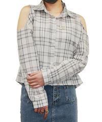肩あきシャツブラウス:4色展開