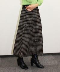 フリンジチェック柄ニットスカート:2色展開