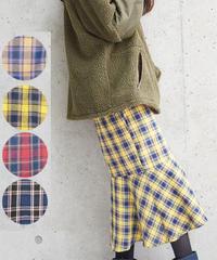 チェック柄マーメイドスカート:4色展開