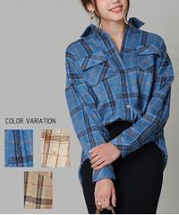 チェックビッグシルエットシャツ:3色展開