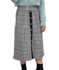 センターボタンニットスカート:2色展開