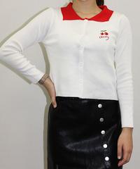 ポロ衿さくらんぼニット:3色展開