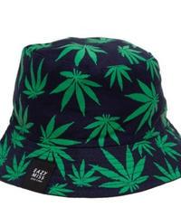 CANNABIS REVERSIBLE BUCKET HAT / Green/Navy
