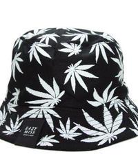 EAZY MISS CANNABIS REVERSIBLE BUCKET HAT / Black/White