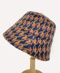 Houndstooth Checked Bucket Hat