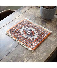 Afghanistan vintage | mini rug orange white 25.5 × 31.5cm