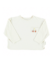 piupiuchick | LONG SLEEVE ECRU W/ PINS ON FRONT AND〝THE BREAKFAST CLUB〟PRINT ON BACK