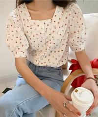 flower shirt FOR MOM / ブラウス / 半袖 / 花柄 /  ママ / レディース / 夏 / 白