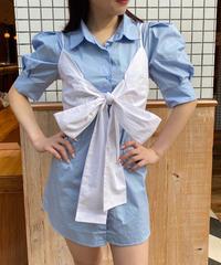 パフスリーブシャツ×リボンビスチェ2 Piece SET  832