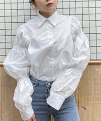ティアードロングスリーブホワイトシャツ 0491