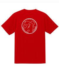 地球デザイン  Tシャツ レッド(ホワイト)