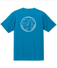 地球デザイン  Tシャツ ターコイズブルー