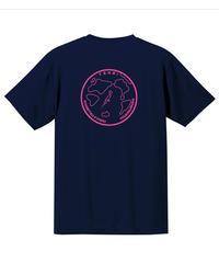 地球デザイン  Tシャツ ネイビー(ピンク)