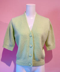 puff sleeve knit cardigan LIME
