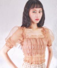 organdie puff blouse BEIGE