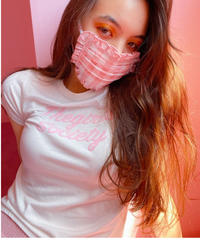 gingham check face mask PINK