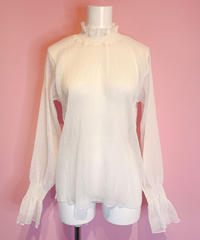 sheer blouse WHITE