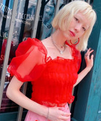 organdie  puff blouse RED
