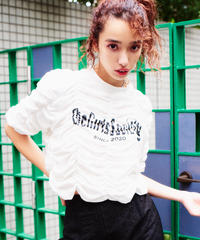 gather print T-shirt WHITE