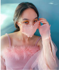 organdie frill face mask PINK