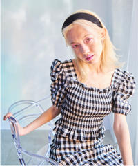 gingham check puff blouse BLACK