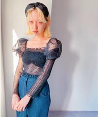 dot puff blouse BLACK
