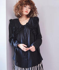 frill big collar blouse BLACK