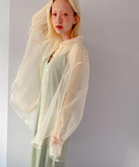 big size sheer shirt IVORY