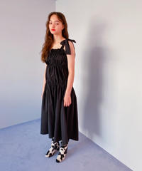 volume gather dress BLACK
