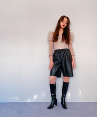 faux leather half pants