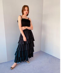 chiffon tiered skirt BLACK