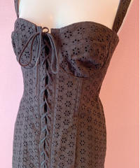 cotton lace corset dress BLACK