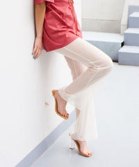 see-through flare pants CREAM