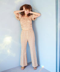 gingham check tweed  flare pants BEIGE