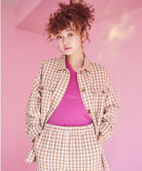 gingham check tweed  jacket  BEIGE