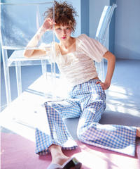 gingham check tweed  flare pants BLUE