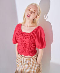 linen gather blouse RED