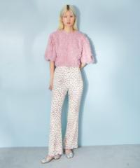 flower pleat pants IVORY
