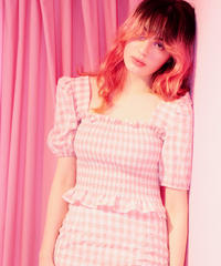 gingham check puff blouse PINK