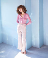 gingham check tweed  flare pants PINK