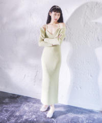 mohair rib knit dress GREEN