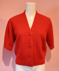 puff sleeve knit cardigan RED