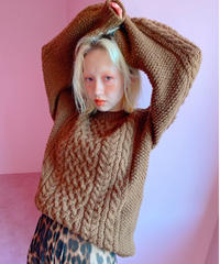 handmade alan knit BROWN
