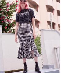 gingham check 2way mermaid skirt BLACK