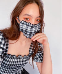 gingham check face mask BLACK