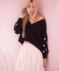 flower cardigan BLACK
