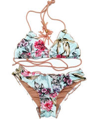 TB-145  Tropical Blue Flower Bikini