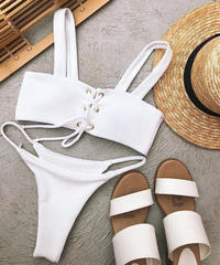 TB-128   White&Black Rib Lace Up Bikini