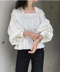 JUN MIKAMI square neck blouse , 120/2 cotton broad
